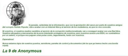 Comunicado Anonymous Aede