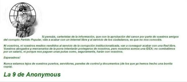 Comunicado Anonymous Aede