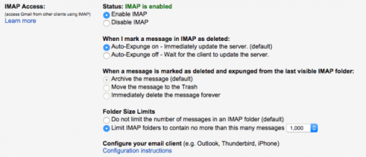 Gmail ajustes imap google