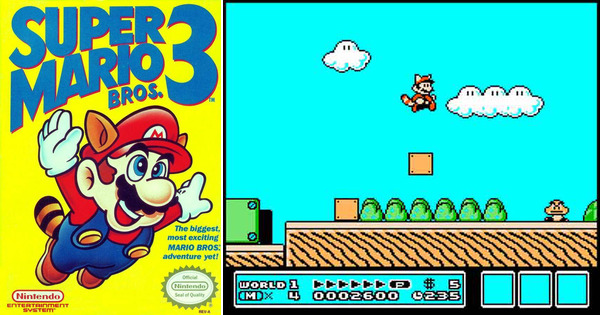 Portada y pantallazo Super Mario Bros 3