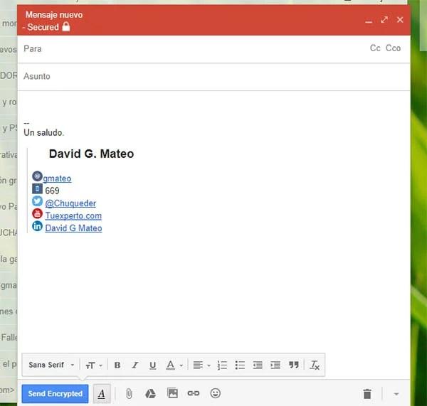encriptar correos gmail