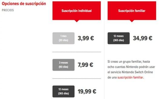 servicio online Nintendo Switch oficial precios