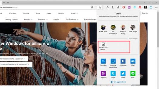 funciones más interesantes última actualización Windows 10 Near Share