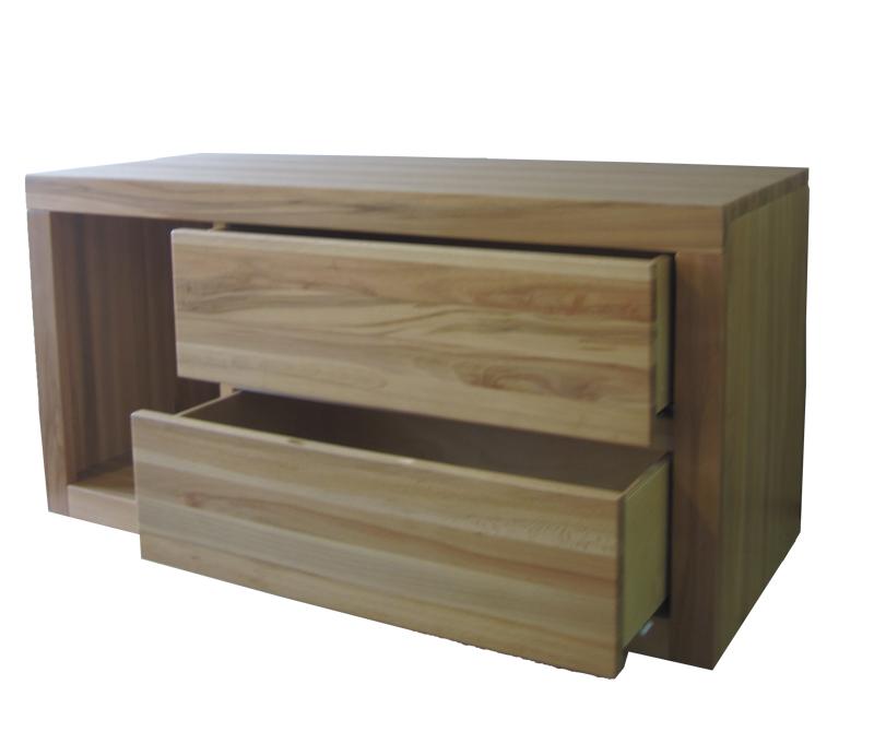drewniana komoda RTV z szufladami