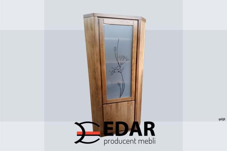 witryna bukowa narożna szkło zdobione