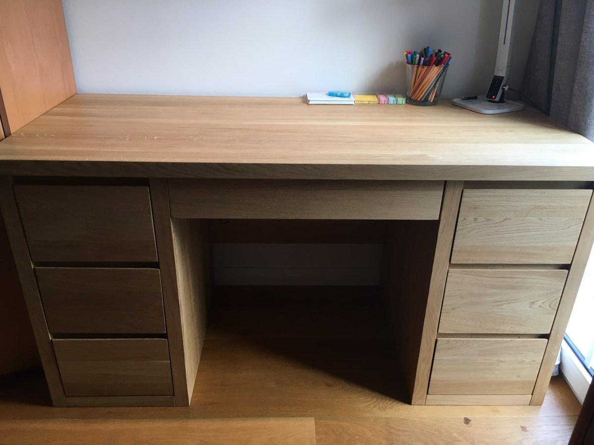 biurko dębowe 7szuflad