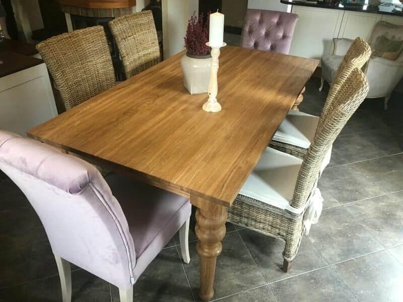 debowy stół toczony wzór nog
