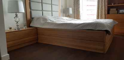 łóżko dębowe ze skrzynią i stelażem podnoszonym