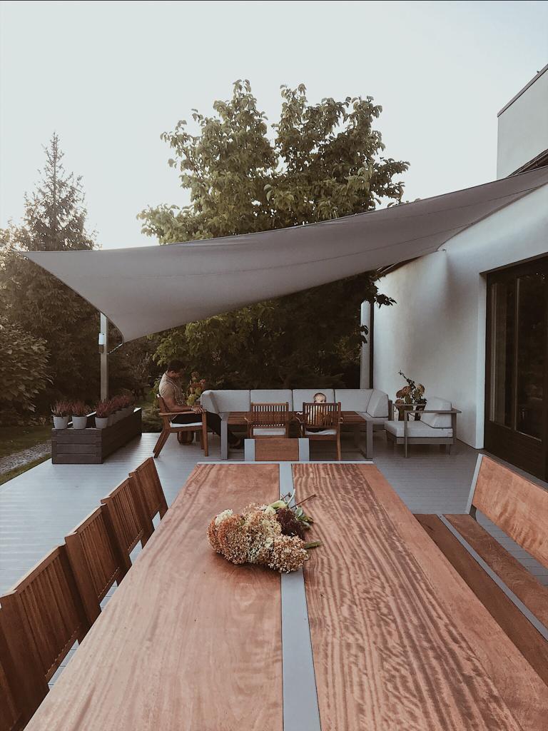 KOmplet mebli ogrodowych aluminium i drewno