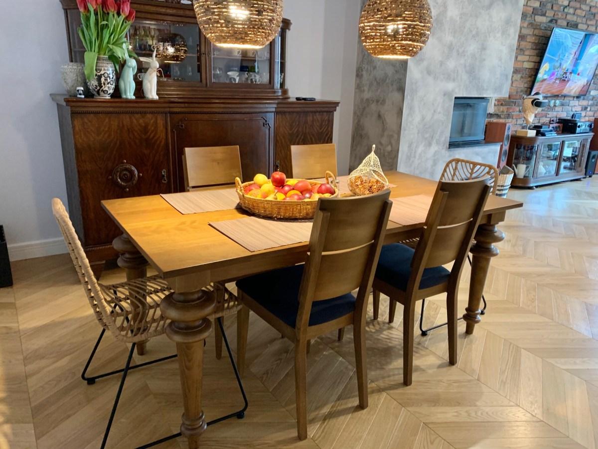 Stół toczony drewno bukowe kolor rustikal