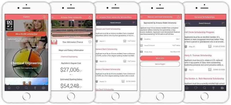 five phone screenshots of Schoold app