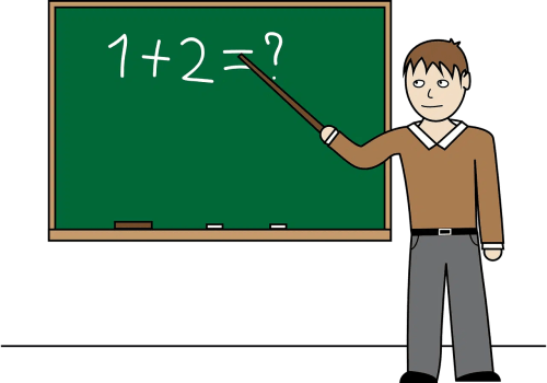 teacher pointing at chalkboard 1+2=?