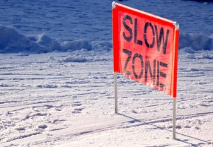 sign slow zone