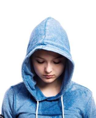 sad girl in blue hoodie