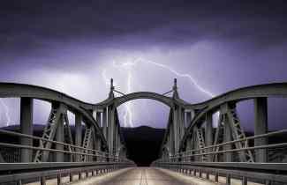 Landscape Dark Lightning Bridge Clouds Night