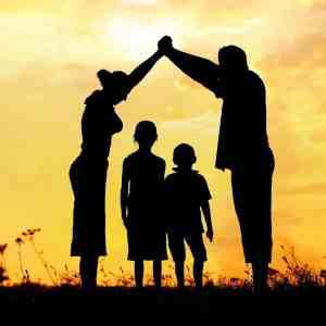 parents and children sunset