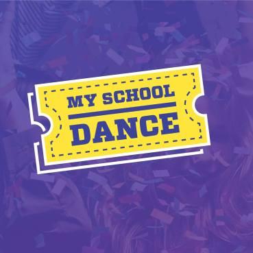 My School Dance Logo purple and yellow