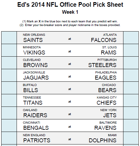 photo about Printable Nfl Pick Em Sheet called Weekly Soccer Options Template. working day 7 days calendar template