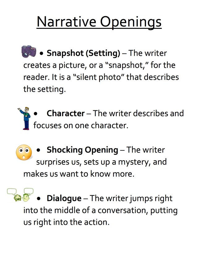 narrative openings anchor chart