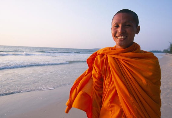 Smiling Monk on Beach