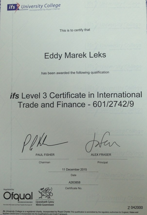 Certificate of International and Trade Finance