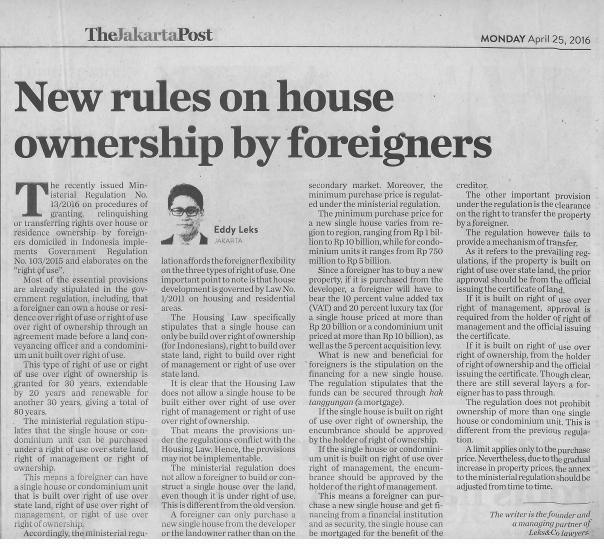 eddy leks on house ownership by foreigner