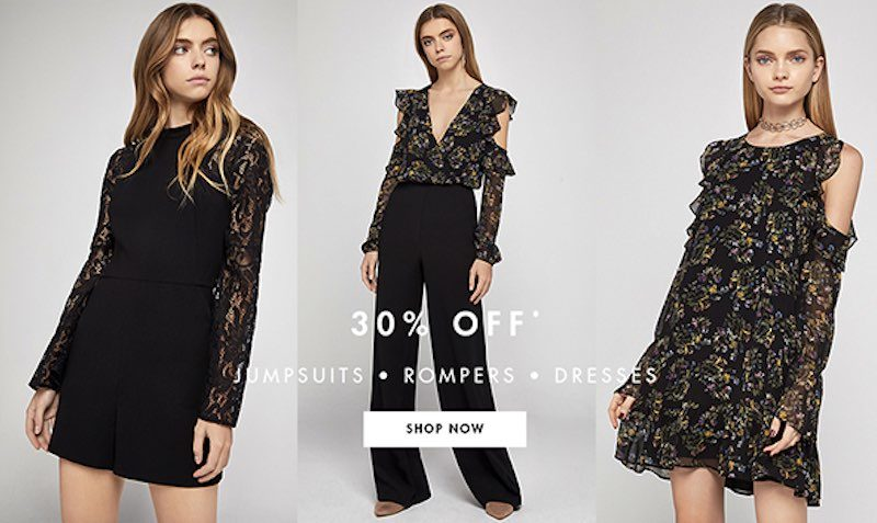 30% Off Regular Price Dresses, Jumpsuits and Rompers.