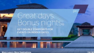Double SPG Points Insider Offer at Starwood Hotels