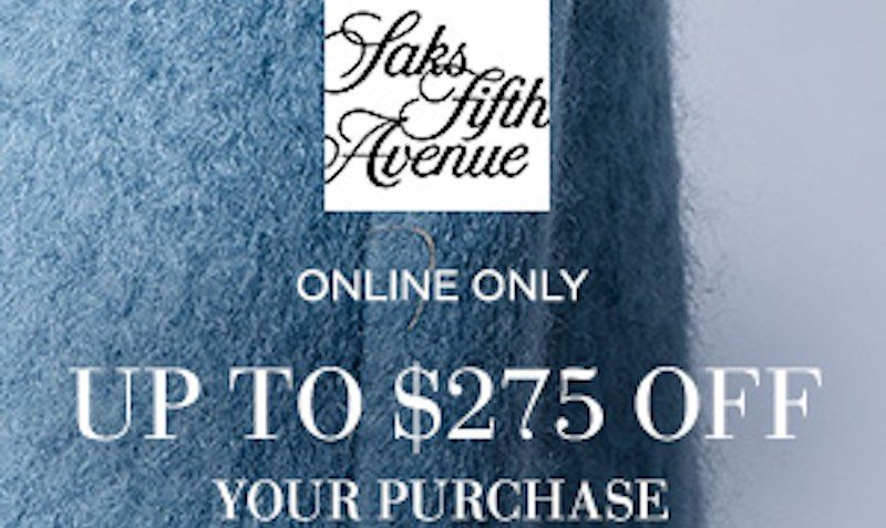 Upto $275 Off Discount Promo Code at Saks Fifth Avenue