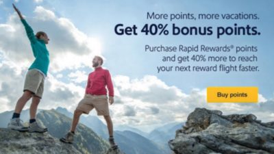 Upto 40% BONUS Southwest Rapid Rewards at Points.com