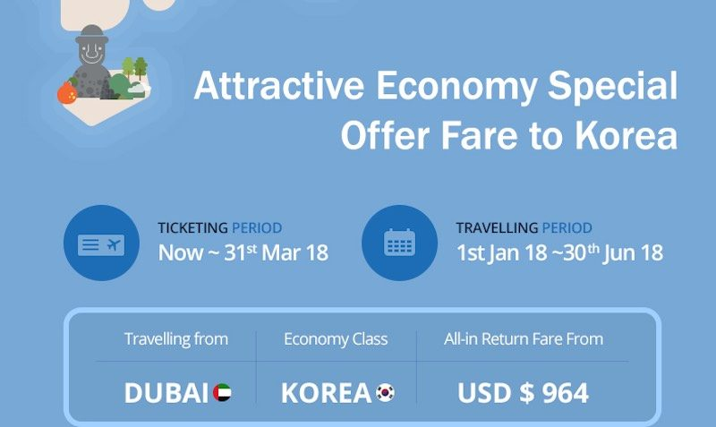 Attractive Economy Special Offer to Korea from Dubai