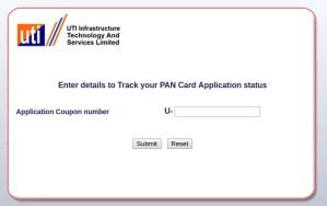UTI Pan Card Status Online