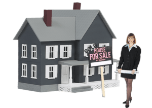 woman standing near house for sale