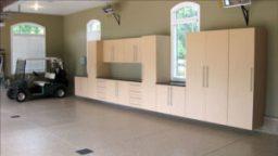 wooden garage cabinet