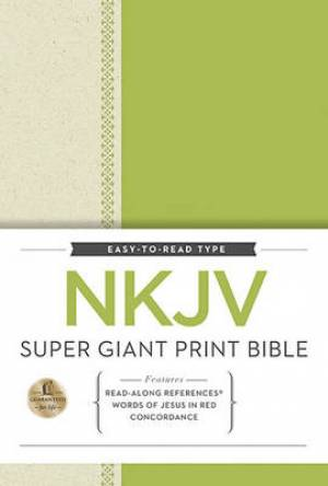 NKJV Super Giant Print Ref Bible Hardback Green Free