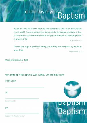 Adult Baptism Certificates Pack Of 10 Free Delivery
