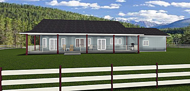 Ranch Style House Plans   Edesignsplans ca 2016934 rear