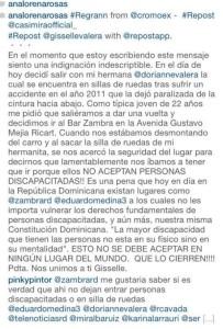 Caso Zambra: Post de Giselle Valera después del incidente en Discoteca Zambra.