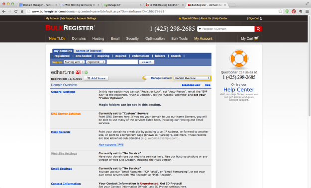 Find the DNS Server Settings option in your registrar account. In this example, I'm using BulkRegister.com.