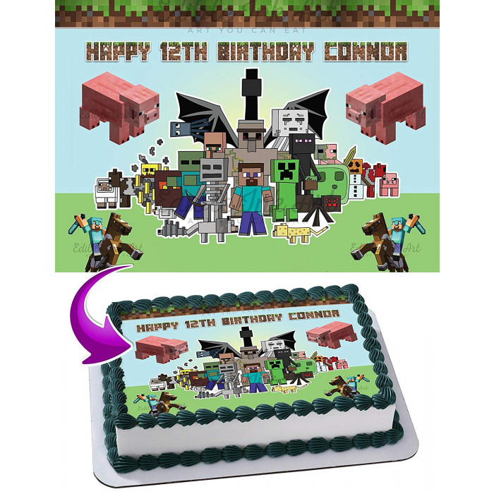 Minecraft Edible Cake Topper