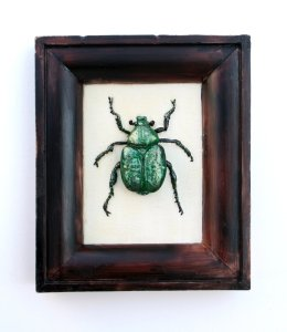 A metallic green beetle pinned in a frame but it is all made of chocolate. It's a Nobel Chafer Beetle which is an endangered British beetle
