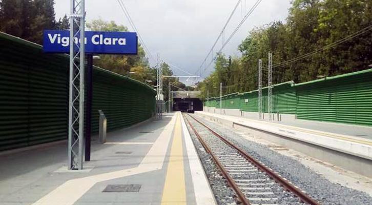 La fermata della stazione ferroviaria fantasma di Vigna Clara