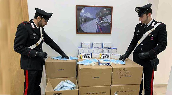 33mila mascherine illegali sequestrate dai Carabinieri in un supermercato di via Torrevecchia