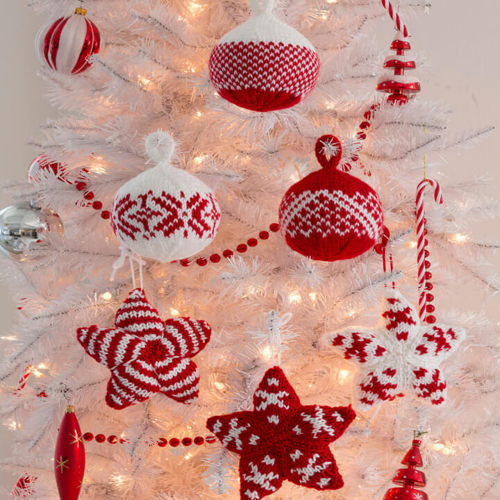 Red Heart Holiday Stars and Balls Ornaments Free Knit Pattern