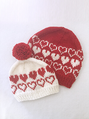 Hearts All Around Hats Knitting Pattern by Edie Eckman