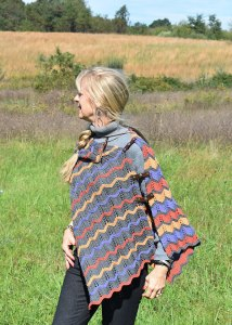 Knit Absaroka Poncho worn assymetricly