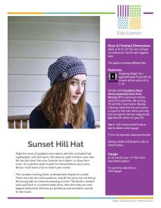 sample of first page Sunset Hill Hat