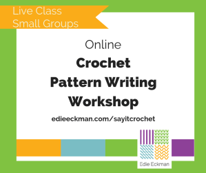 Online Crochet Pattern Writing Workshop title card