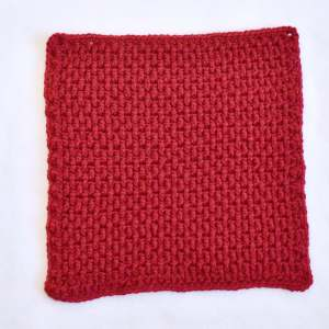 Red Crocheted Square Skill-Builder Crochet Blanket