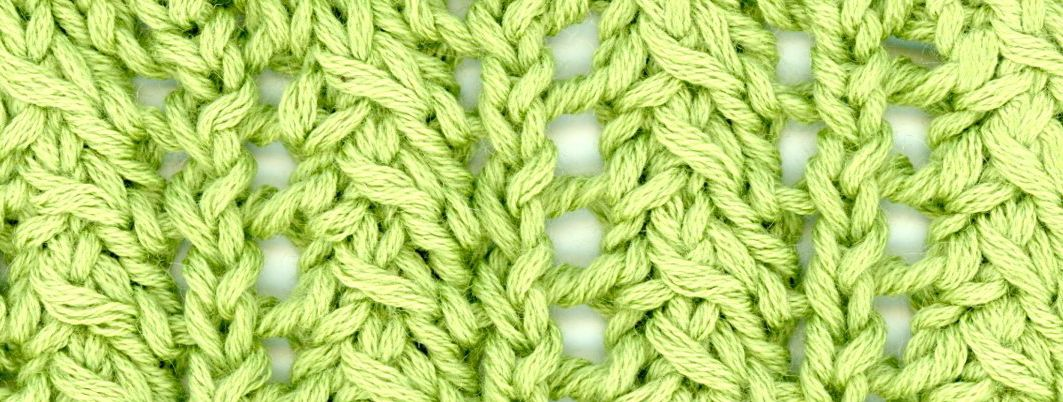 lacy rib green knitted swatch